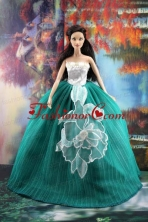 Elegant Green Gown With Appliques Dress For Quinceanera Doll Babidf179for