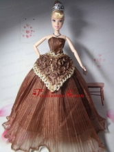 Elegant Hand Made Flowers Brown Made To Fit The Quinceanera Doll Babidf281for