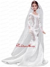 Elegant Handmade White Quinceanera Satin Wedding Dress For Quinceanera Doll Babidf350for