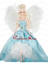Elegant Party Dress With Blue Taffeta Made To Fit The Quinceanera Doll Babidf358for