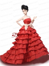Elegant Party Dress With Red Taffeta Made To Fit The Quinceanera Doll Babidf352for
