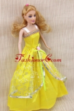 Elegant Party Dress With Yellow Taffeta Made To Fit The Quinceanera Doll Babidf366for