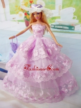 Elegant Pink Gown Organza Made To Fit The Quinceanera Doll Babidf288for