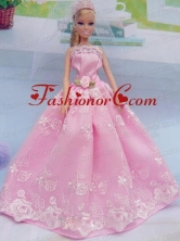 Elegant Pink Gown With Embroidery Made To Fit The Quinceanera Doll Babidf052for