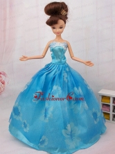 Elegant Printing Ball Gown Party Clothes Quinceanera Doll Dress Babidf091for