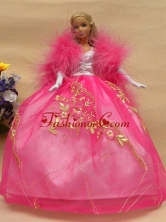 Elegant Rose Pink Gown With Lace Made To Fit The Quinceanera Doll Babidf273for