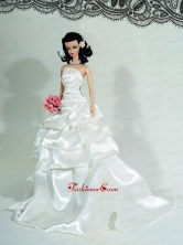 Elegant Wedding Dress For Quinceanera Doll With Ruffled Layers And Brush Train Babidf407for