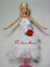 Elegant Wedding Dress With Flower Tea-length For Quinceanera Doll Babidf330for