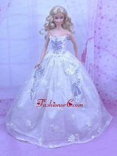 Elegant White Gown With Embroidery And Sequins Made To Fit The Quinceanera Doll Babidf164for