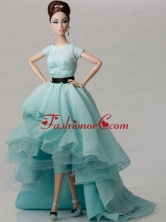 Elegant White Gown With Blue Organza Made To Fit The Quinceanera Doll Babidf354for