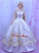 Elegant White Princess Dress For Quinceanera Doll With Appliques Babidf162for