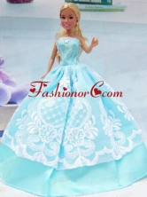 Embroidery Baby Blue For Princess Quinceanera Doll Dress Babidf049for