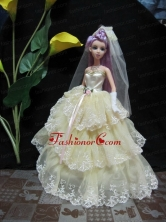 Embroidery Decorate Ball Gown Light Yellow Quinceanera Doll Dress Babidf116for