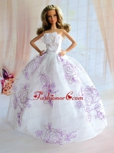 Embroidery Decorate White Taffeta Ball Gown Quinceanera Doll Dress Babidf111for