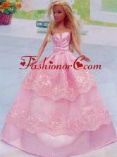 Embroidery Floor-length Rose Pink For Princess Quinceanera Doll Dress Babidf051for