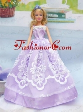 Embroidery Lilac For A-line Quinceanera Doll Dress Babidf050for