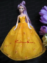 Embroidery Taffeta And Organza Yellow Ball Gown Quinceanera Doll Dress Babidf015for