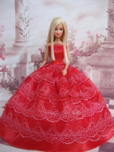 Exclusive Ball Gown Red Taffeta Quinceanera Doll Dress Babidf100for