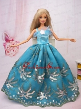 Exclusive Ball Gown Teal Beading Hand Made Flower Quinceanera Doll Dress Babidf086for