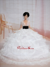 Exclusive Ball Gown White Wedding Clothes Quinceanera Doll Dress Babidf102for