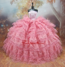 Exclusive Lace Decorate Ball Gown Pink Quinceanera Doll Dress Babidf117for