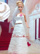 Fashion Handmade Organza Quinceanera White Wedding Dress For Quinceanera Doll Babidf309for