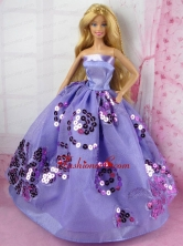 Fashion Purple Princess Dress With Sequins Gown For Quinceanera Doll Babidf171for