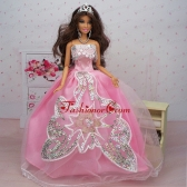 Fashionable Ball Gown Pink Party Clothes Quinceanera Doll Dress Babidf379for