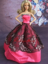 Fashionable Embroidery Ball Gown Hot Pink And Black Quinceanera Doll Dress Babidf119for