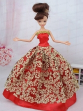 Fashionable Red Ball Gown Quinceanera Doll Dress Babidf094for