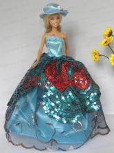 Free Shippment Quinceanera Doll Lace And Sequins Clothes Party Dresses Gown Babidf272for