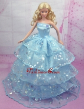 Gorgeous Blue Gown With Sequins And Embroidery Made To Fit The Quinceanera Doll Babidf156for