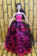 Gorgeous Hot Pink And Black Lace Gown For Quinceanera Doll Babidf210for