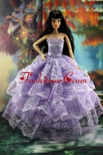 Gorgeous Lilac Gown With Ruffled Layers Lace For Quinceanera Doll Babidf176for