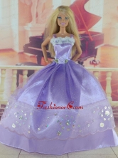 Gorgeous Lilac Gown With Sequins Made To Fit The Quinceanera Doll Babidf314for