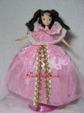 Gorgeous Pink Gown Handmade Dress For Quinceanera Doll Babidf332for