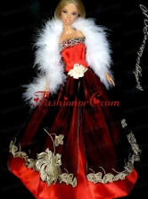 Gorgeous Red And Burgundy Princess Dress With Embroidery Gown For Quinceanera Doll Babidf324for