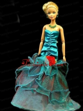 Gorgeous Teal Party Clothes Fashion Dress Sequins For Noble Quinceanera Doll Babidf310for