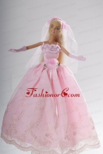 Hand Made Flower Embroidery Princess Party Clothes Quinceanera Doll Dress Babidf004for