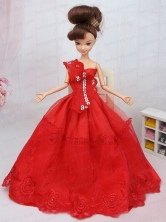 Hand Made Flower And Beading Red Organza Quinceanera Doll Dress Babidf088for