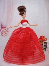 Hand Made Flowers Red Ball Gown Party Clothes Quinceanera Doll Dress Babidf375for