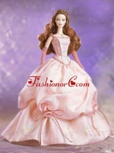 Hand Made Flowers And Embroidery Ball Gown Champagne Quinceanera Doll Dress Babidf008for