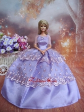 Handmade Dresses Lilac Lace Fashion Party Clothes Gown Skirt For Quinceanera Doll Babidf242for