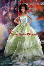 Lace Over Skirt Green For Sweet Quinceanera Doll Dress Babidf186for