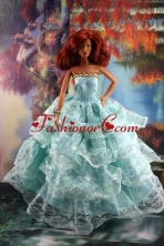 Lace Over Skirt And Light Blue Gown For Quinceanera Doll Babidf189for