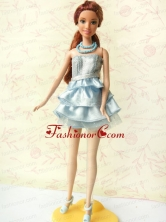 Light Blue Short Party Dress For Noble Quinceanera With Sequin And Ruffles Babidf411for