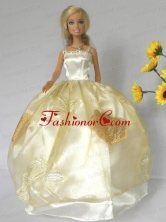 Light Yellow Straps Appliques Handmade Dresses Fashion Party Clothes Gown Skirt For Quinceanera Doll Babidf269for