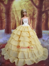 Light Yellow And Ruffled Layers For Quinceanera Doll Dress Babidf230for