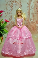 Lovely Baby Pink Straps Applqiues Party Clothes Fashion Dress For Noble Quinceanera Babidf233for