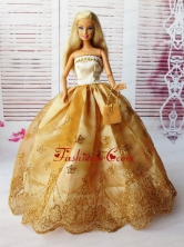 Lovely Ball Gown Handmade Gold Appliques Quinceanera Doll Dress Babidf066for
